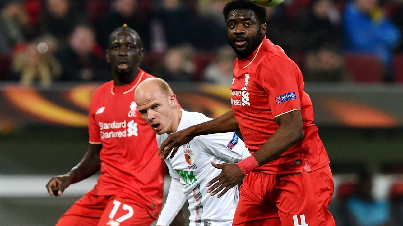 Mamadou Sakho, left, and Kolo Toure, right, helped keep the Augsburg attack under wraps in Thursday's 0-0 Europa League draw.