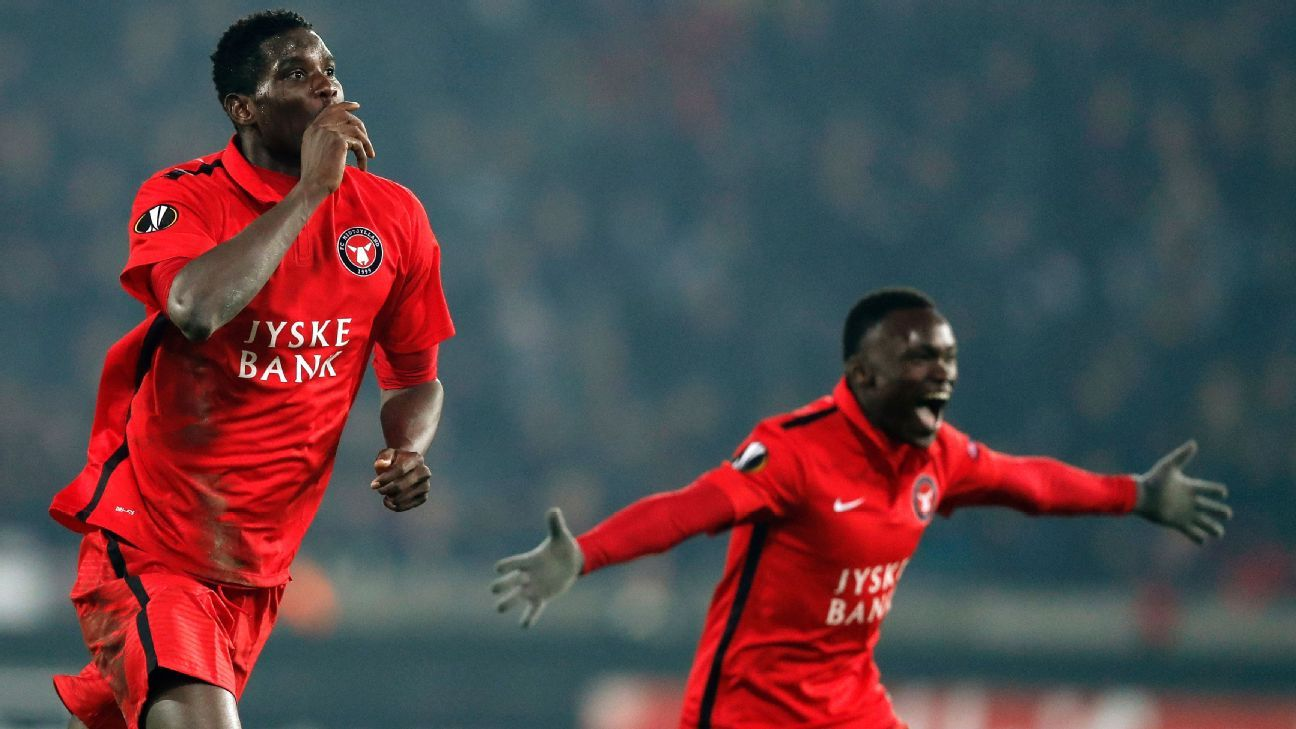 Paul Onuachu celebrates scoring for FC Midtjylland