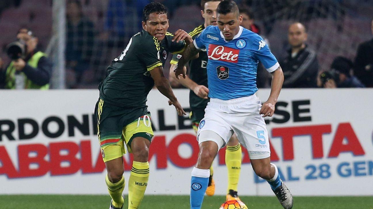 AC Milan striker Carlos Bacca vs. Napoli