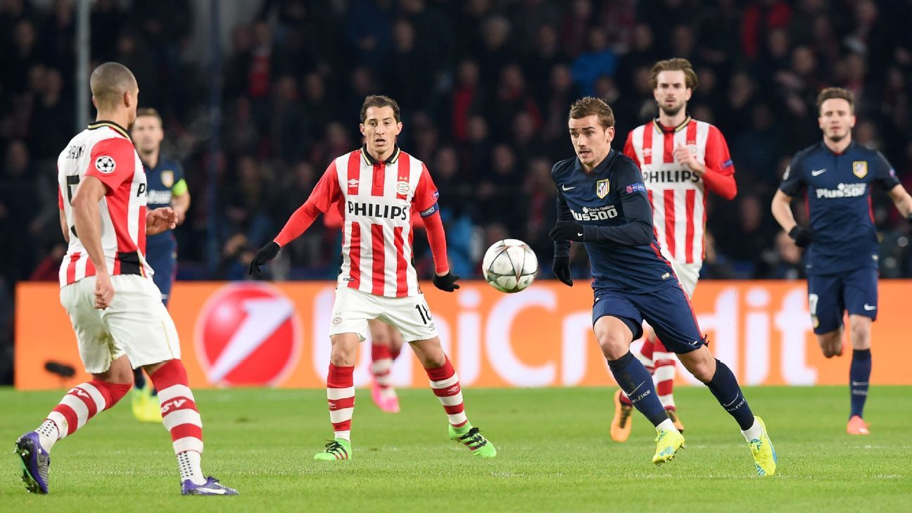 The Champions League knockout round goalscoring struggles continued for Antoine Griezmann and Atletico in Wednesday's 0-0 draw at PSV.
