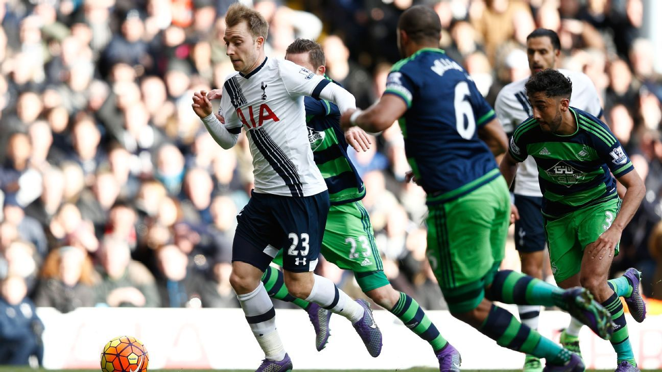 Christian Eriksen was relentless in leading Tottenham forward during their second half comeback vs. Swansea.