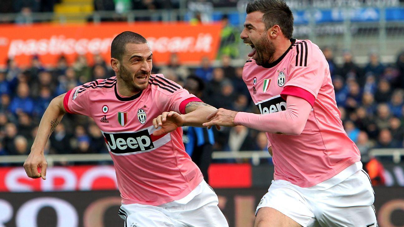 Juventus defender Andrea Barzagli and Leonardo Bonucci