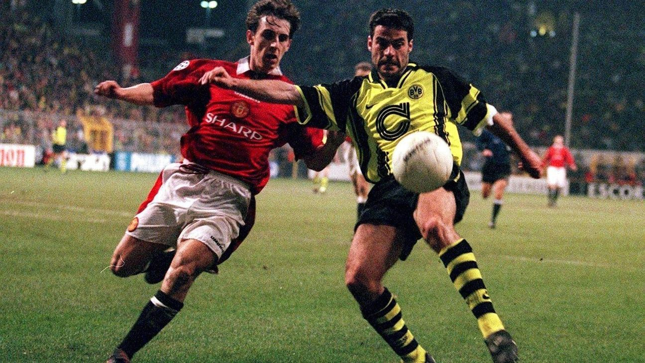 Dortmund had to first overcome Gary Neville and Manchester United before topping Juventus in the final of the 1996-97 Champions League.