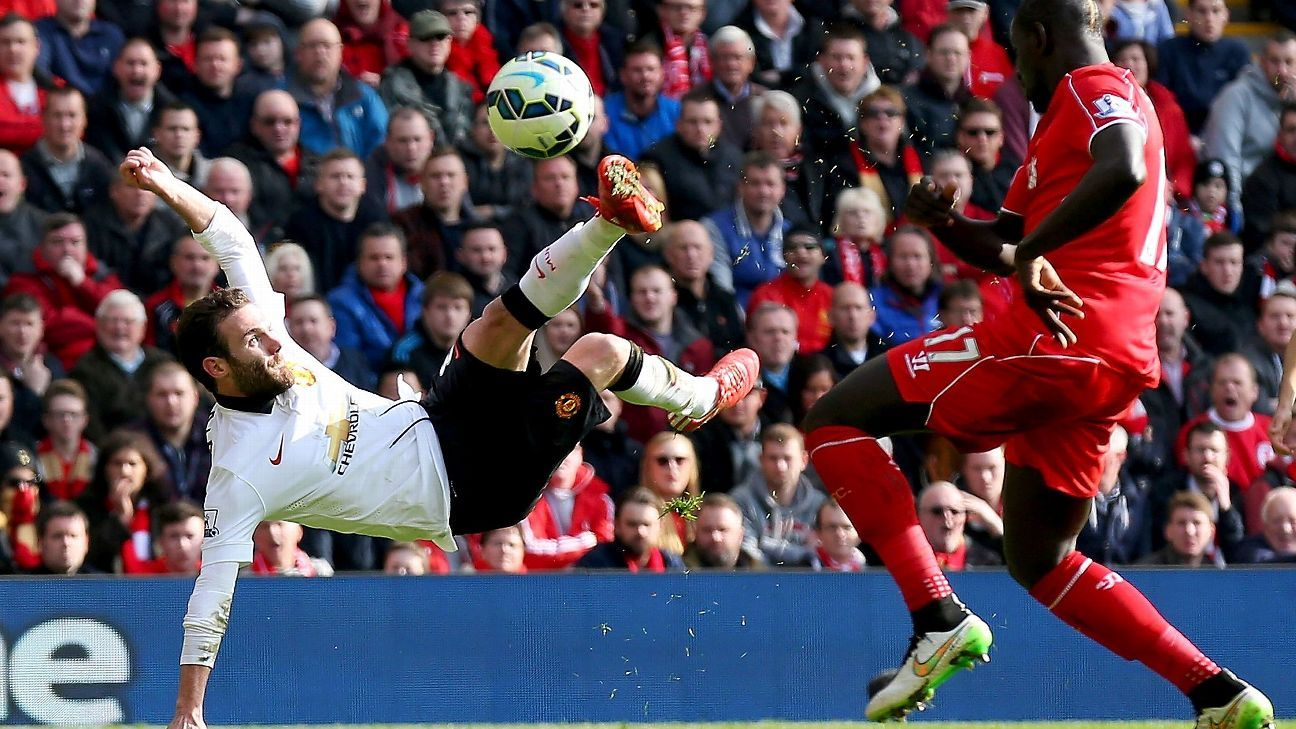 Juan Mata's two clinical finishes, including this scissor-kick, made the difference in Manchester United's 2-1 win at Anfield last March.