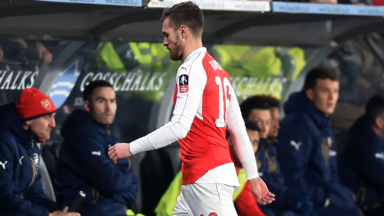 Aaron Ramsey only lasted 16 minutes before leaving injured in the second half against Hull.