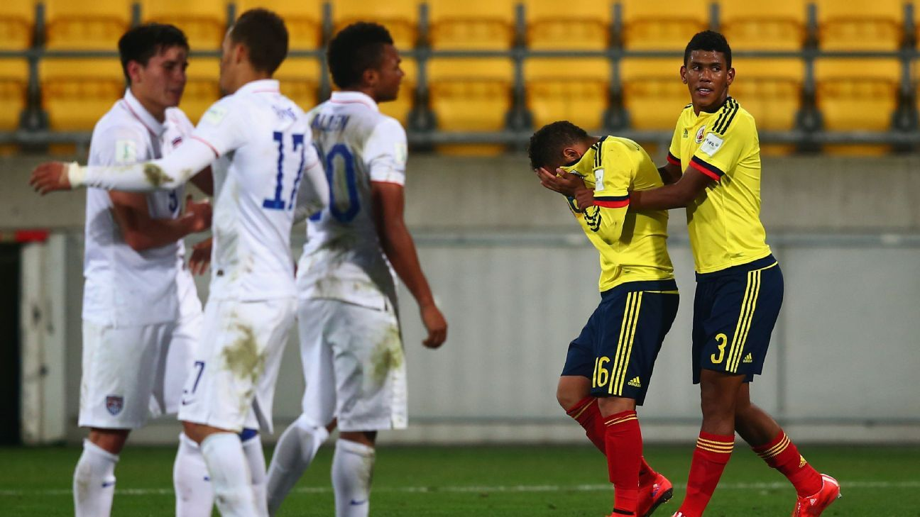 U.S. U-20s celebrate vs. Colombia