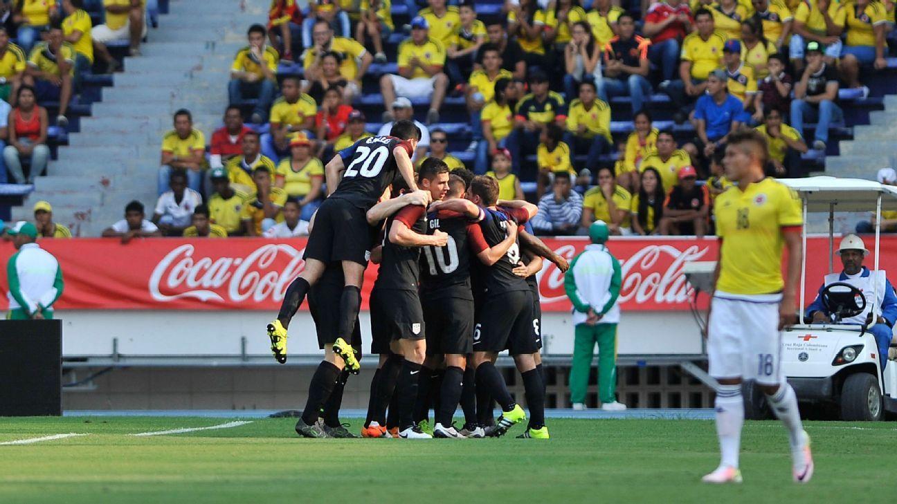 U.S. U23s celebrate vs. Colombia