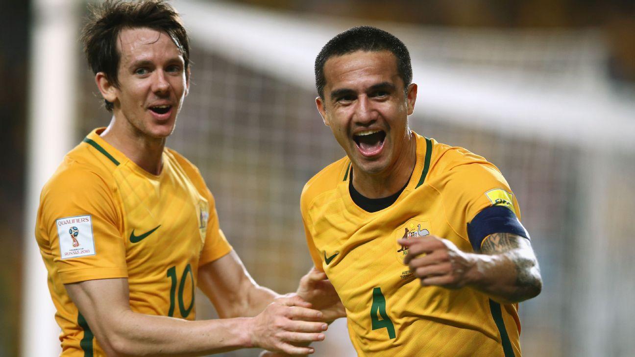 Australia's Robbie Kruse and Tim Cahill