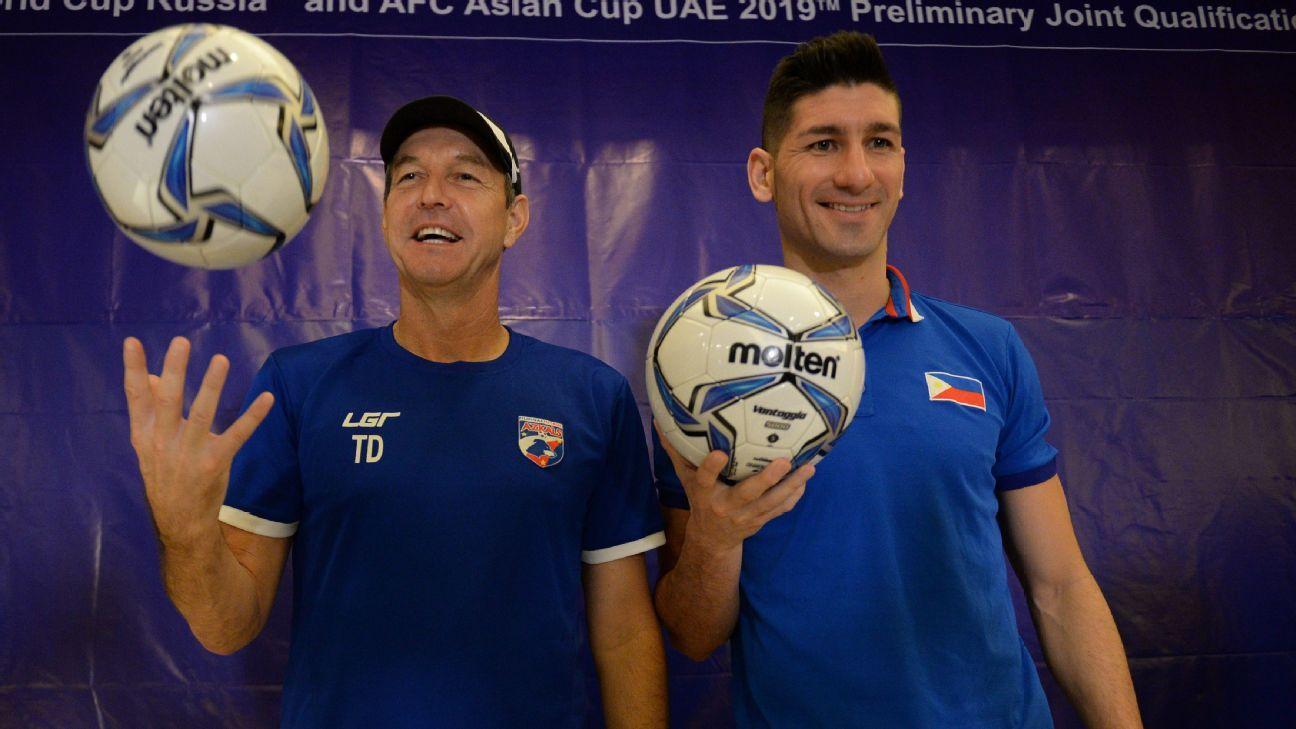 Philippines coach Thomas Dooley and Juani Guirado
