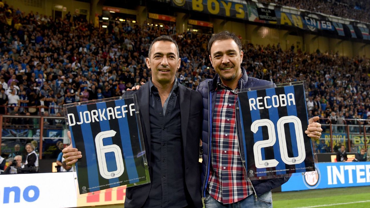 Inter legends Youri Djorkaeff and Alvaro Recoba