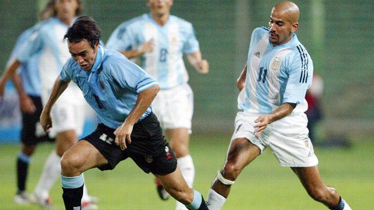 Uruguay striker Alvaro Recoba vs. Argentina