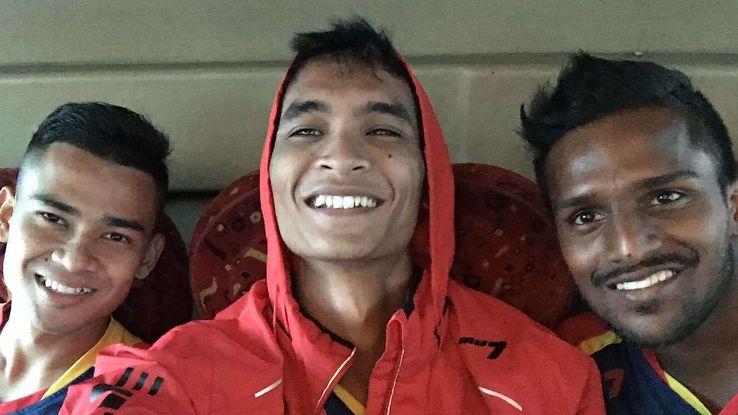 Safuwan Baharudin and PDRM teammates Amir Saiful Badeli and K. Reuben