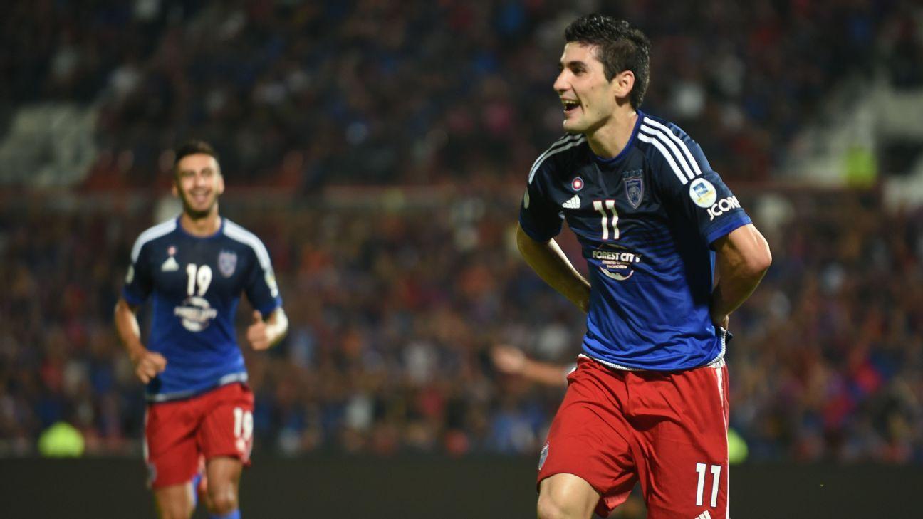 JDT striker Jorge Pereyra Diaz's goal celebration