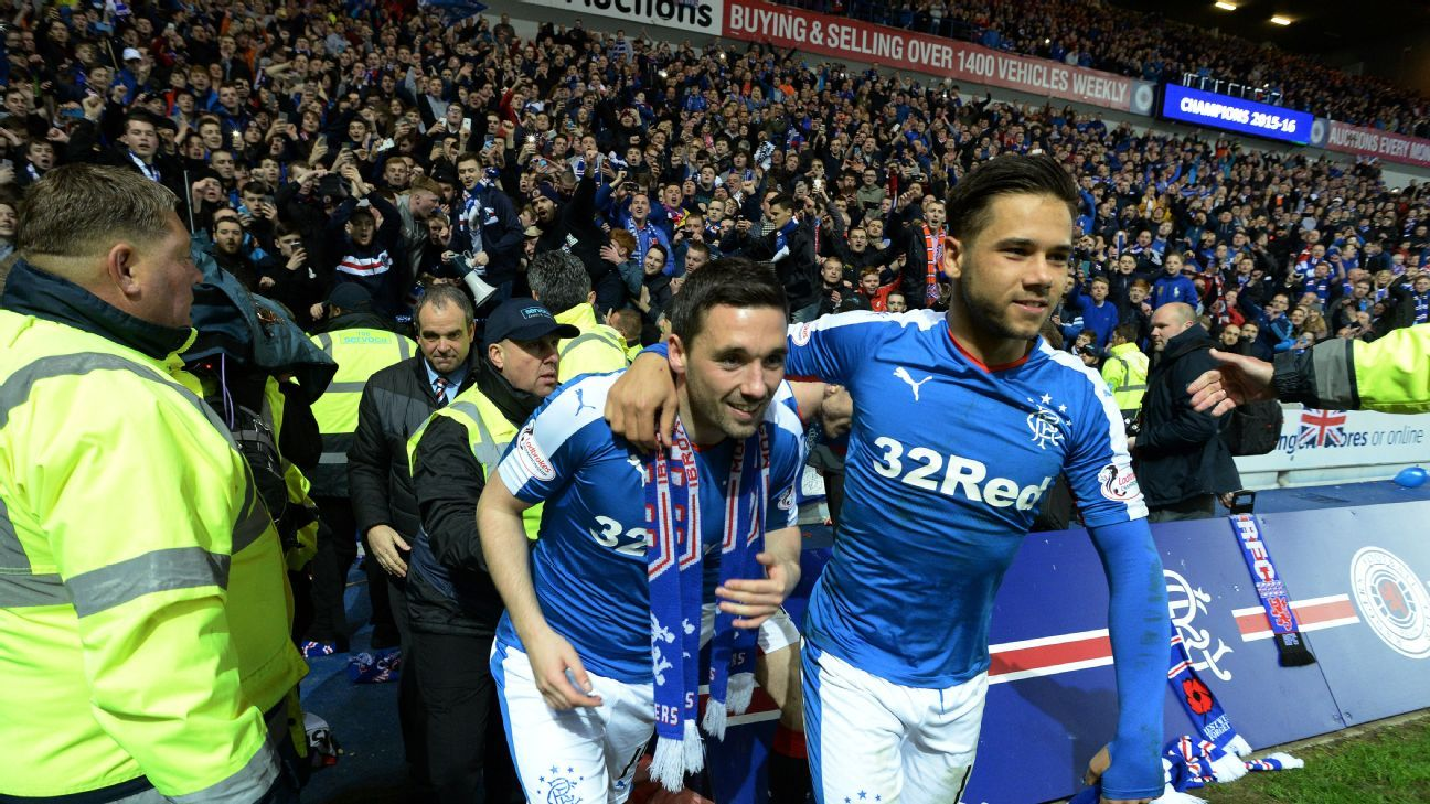 Rangers supporters celebrate promotion