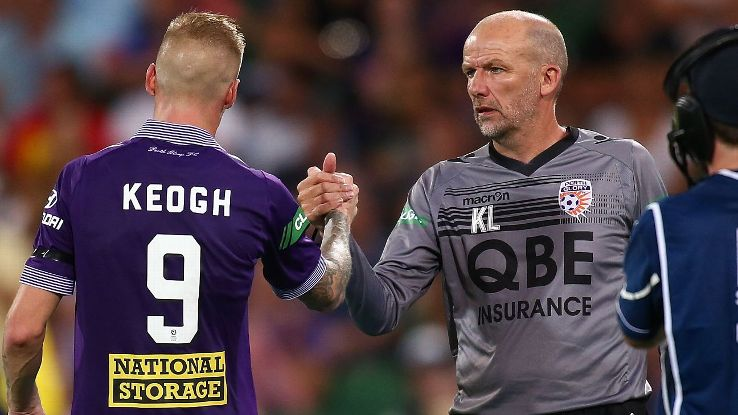 Perth Glory coach Kenny Lowe and Andy Keogh