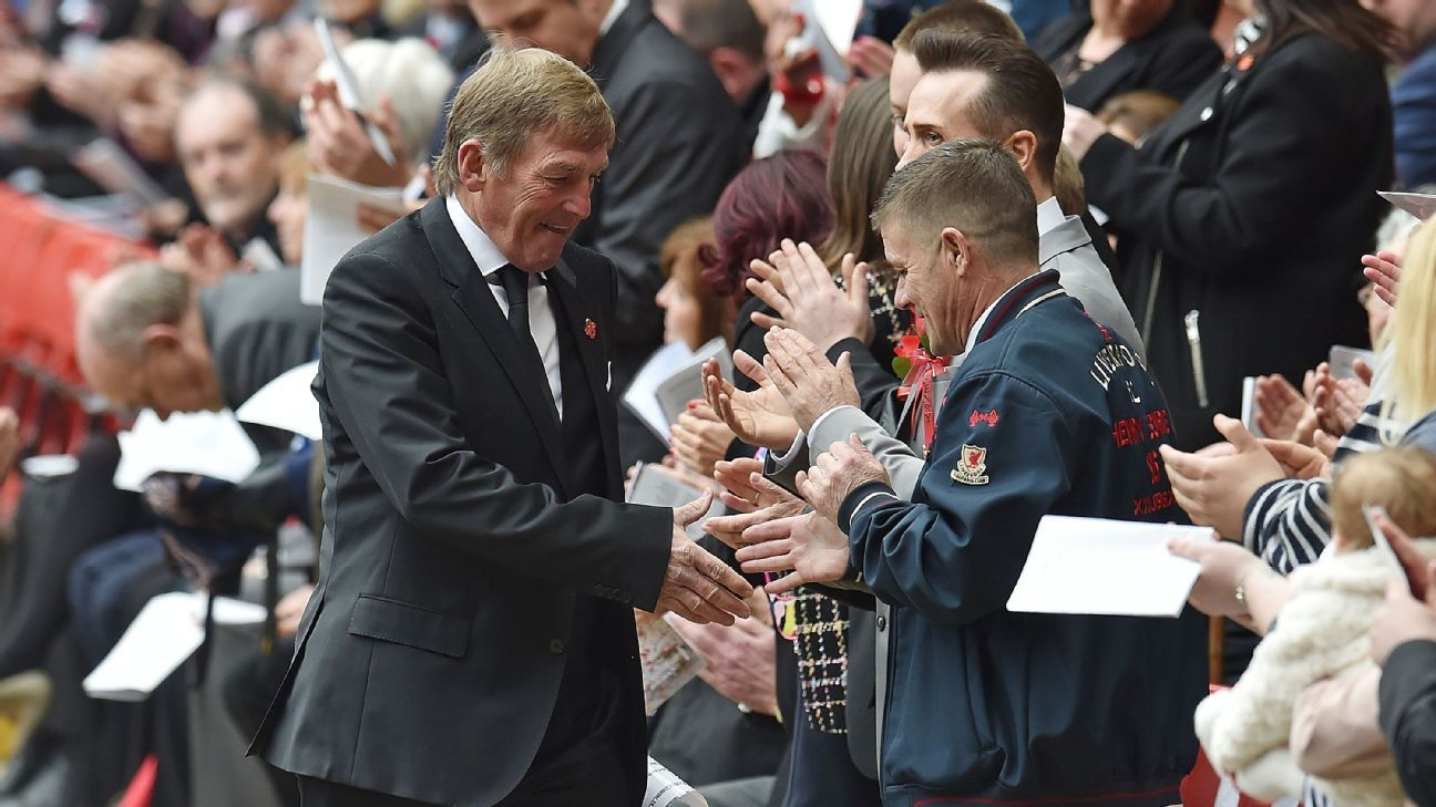 Kenny Dalglish shakes hands with fans during the memorial service marking the anniversary of the Hillsborough disaster.