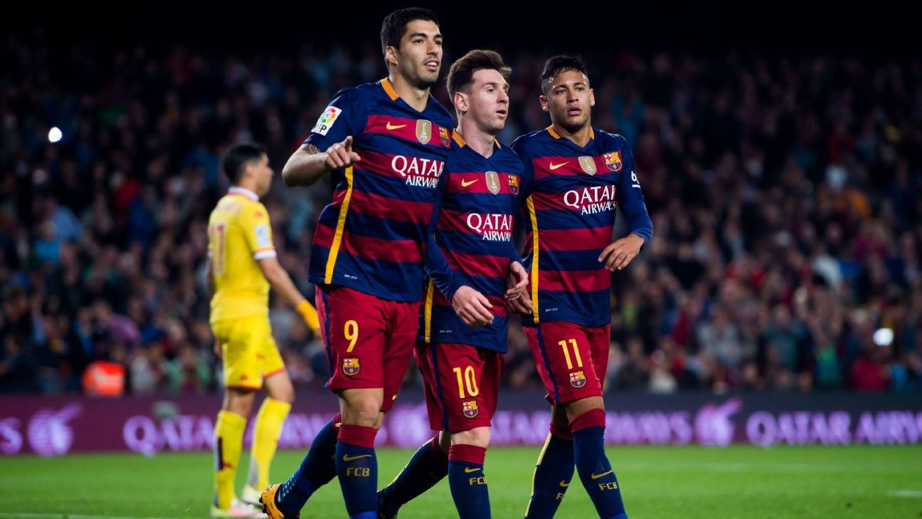 Where does each member of Barcelona's star trio rank among the globe's best forwards?