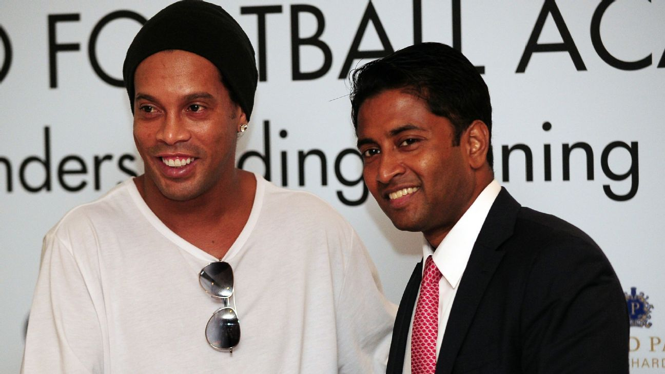 Tampines chairman Krishna Ramachandran and Ronaldinho