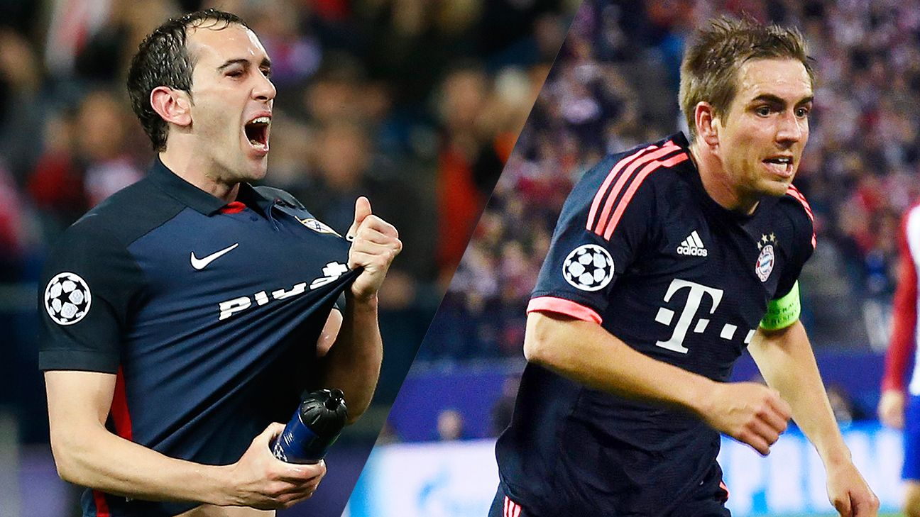 Atletico Madrid's Diego Godin and Bayern Munich's Philipp Lahm are two of the game's top defenders.