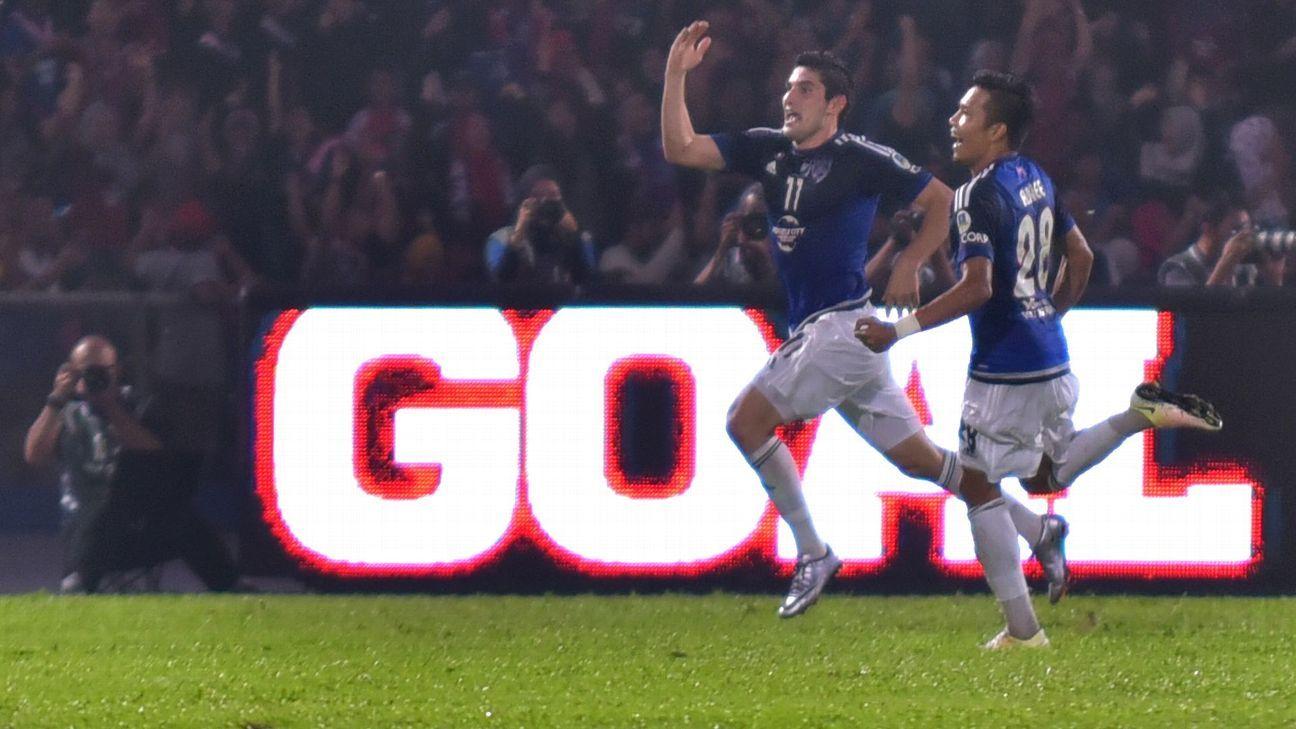 JDT's Jorge Pereyra Diaz celebrates goal vs. Kedah