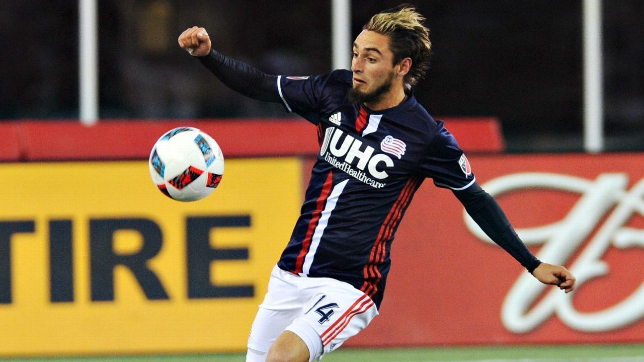 New England Revolution forward Diego Fagundez (14) controls the ball during the first half against Orlando City SC at Gillette Stadium.