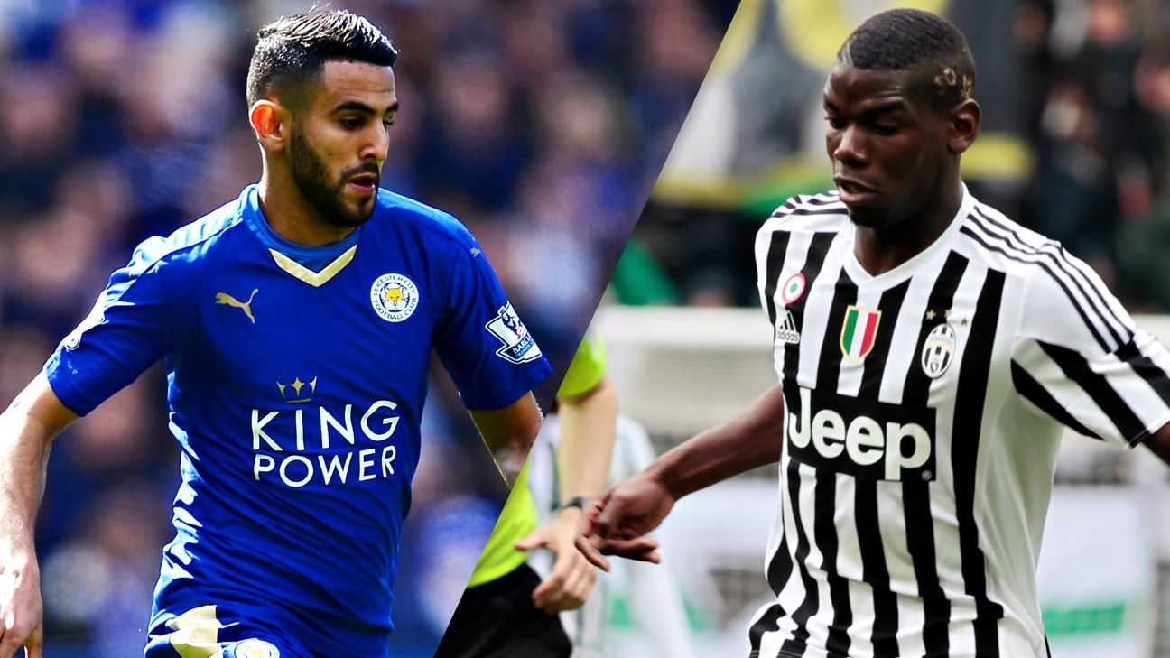 Leicester City's Riyad Mahrez and Juventus' Paul Pogba are among the world's top midfielders.