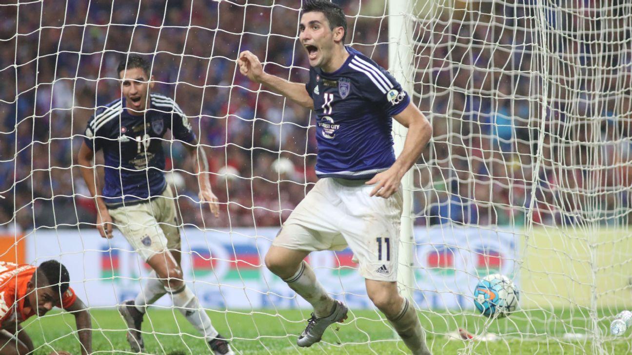 JDT's Jorge Pereyra Diaz celebrates goal in 2016 Malaysia FA Cup final