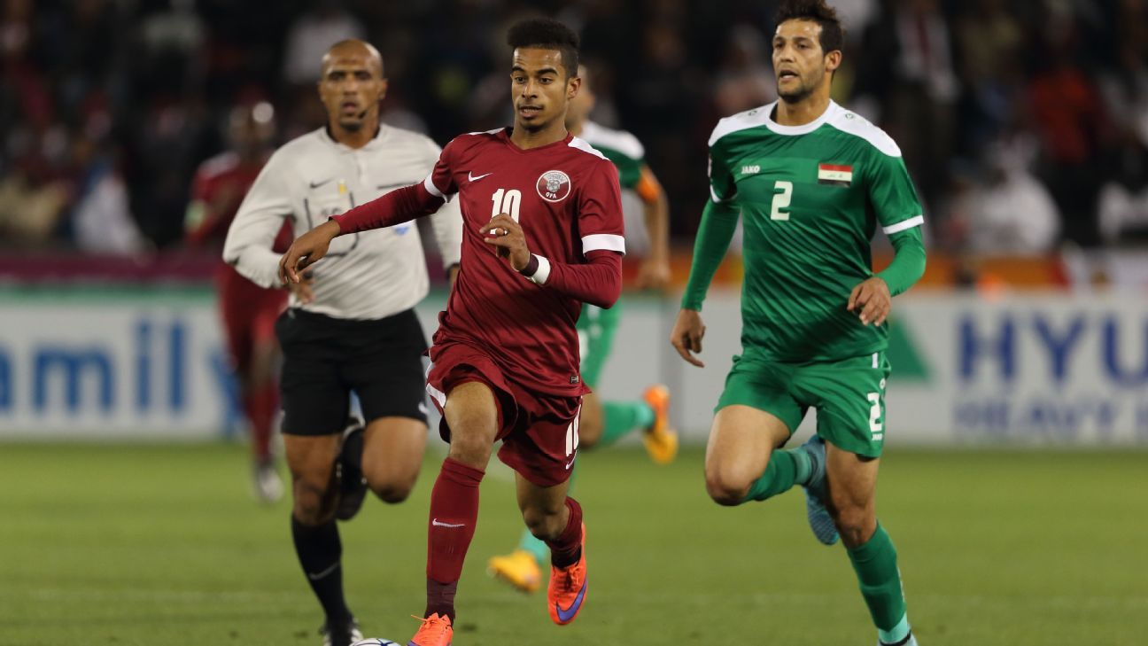 Akram Hassan Afif of Qatar vs. Saudi Arabia in AFC U23 Championship, January 2016