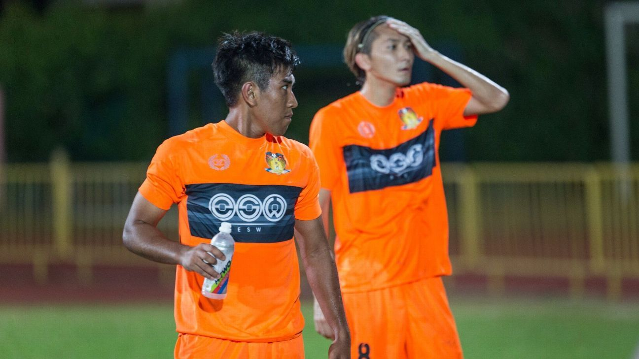 Hougang midfielder Raihan Rahman and Kogure
