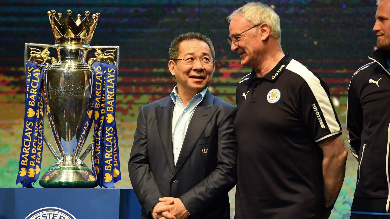 Leicester City coach Claudio Ranieri and owner Vichai Srivaddhanaprabha