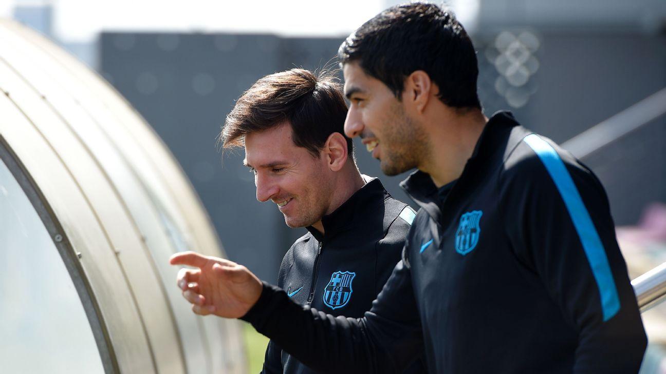 Barcelona duo Lionel Messi and Luis Suarez