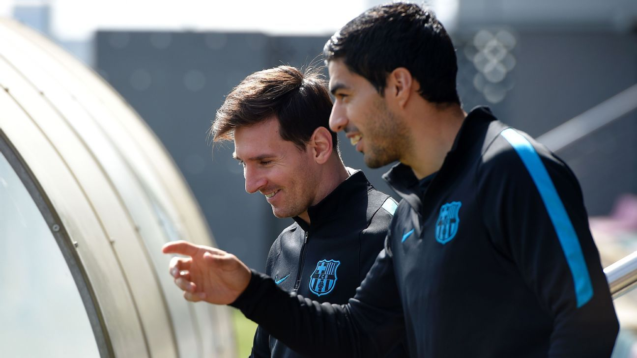 Barcelona duo Lionel Messi and Luis Suarez