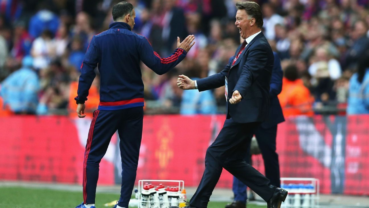 Van Gaal celebrating FA Cup final