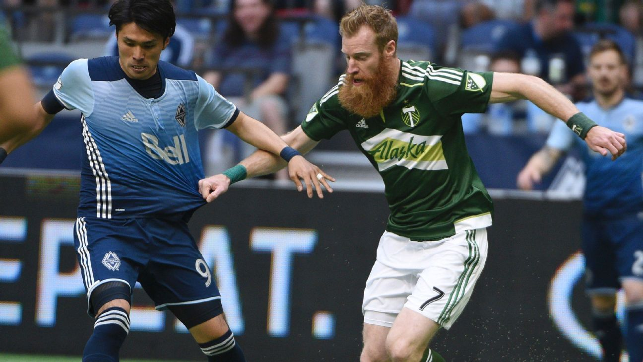 Masato Kudo, left, battles with Nat Borchers in the first meeting of 2016 between the Vancouver Whitecaps and Portland Timbers.