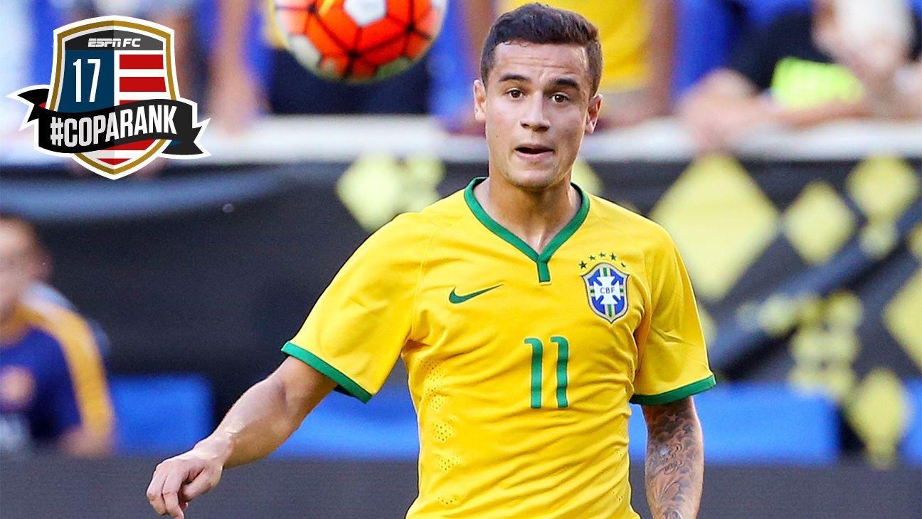 Brazil's Philippe Coutinho - 17th in Copa Rank - ESPN FC
