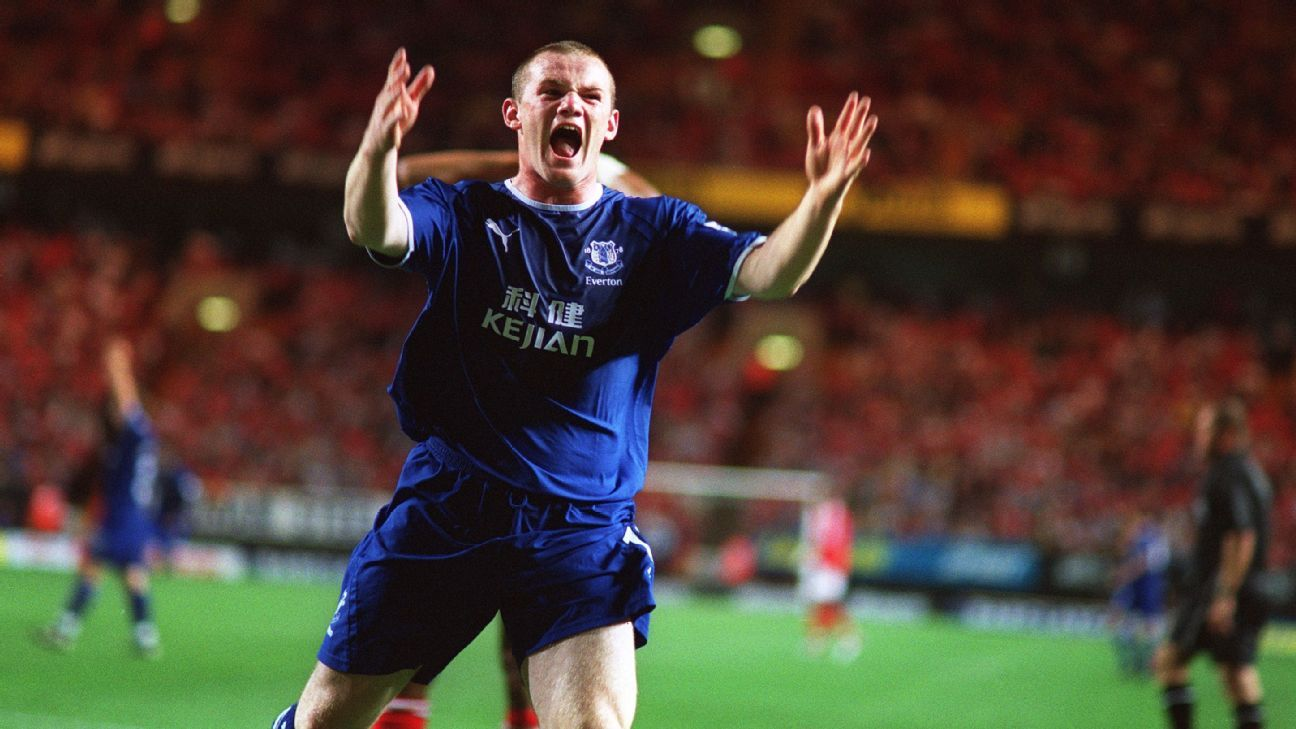 Wayne Rooney with Everton in 2003