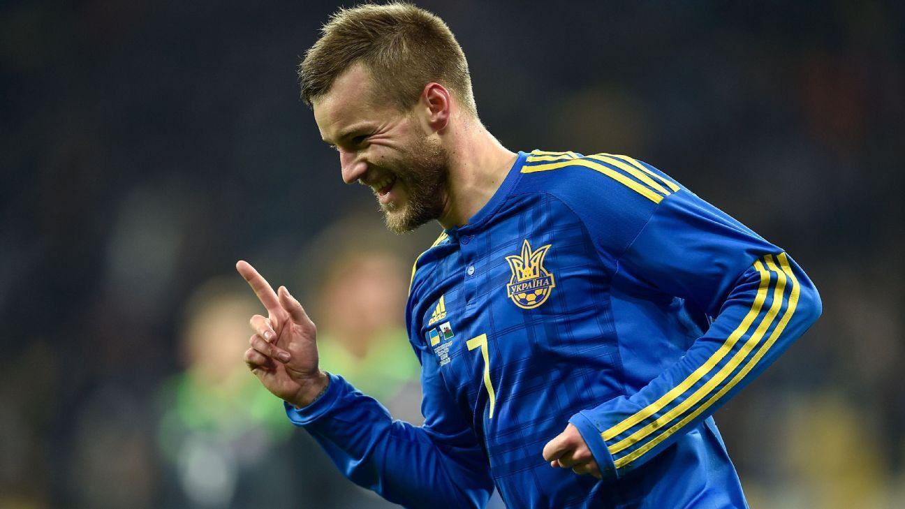 Yarmolenko celebrating with Ukraine