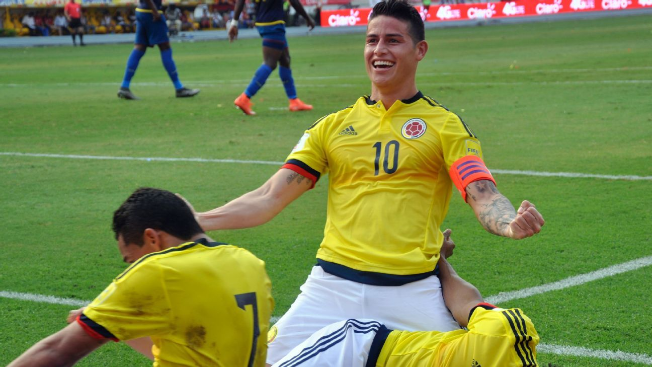 James celebrating with Colombia