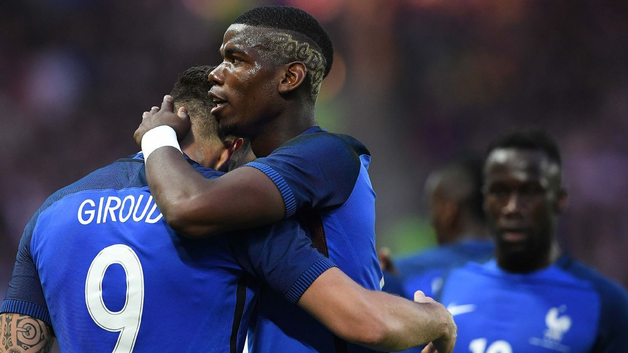 Paul Pogba and Olivier Giroud teamed up to score France's second goal.
