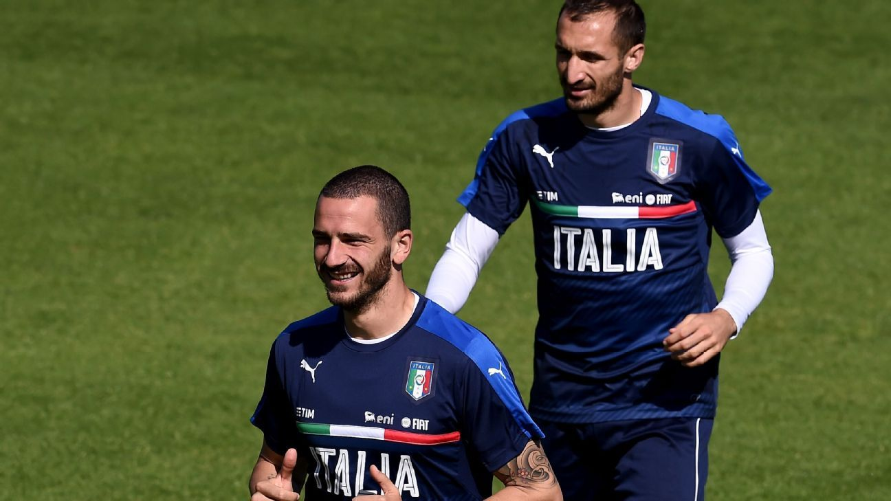 Bonucci and Chiellini with Italy
