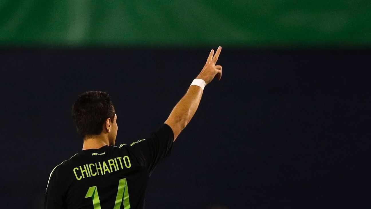 Javier Hernandez points to Mexico supporters after scoring the winner in a 1-0 defeat of Chile.