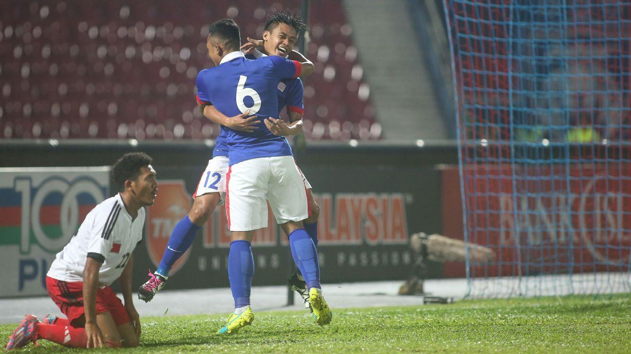 Hazwan Bakri celebrates Malaysia goal