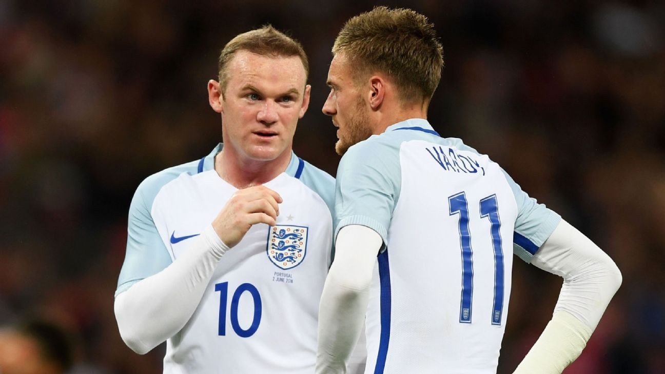 Wayne Rooney with Jamie Vardy England