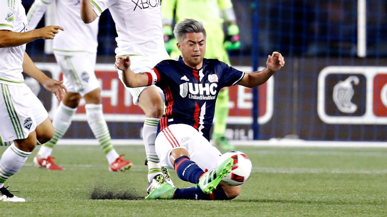 New England Revolution midfielder Lee Ngyuen attack's the ball in last week's win over Seattle.