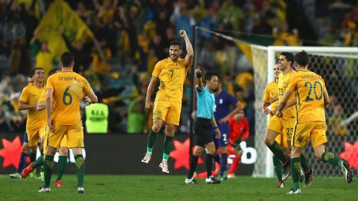 Mathew Leckie celebrates winning goal v Greece, 2016
