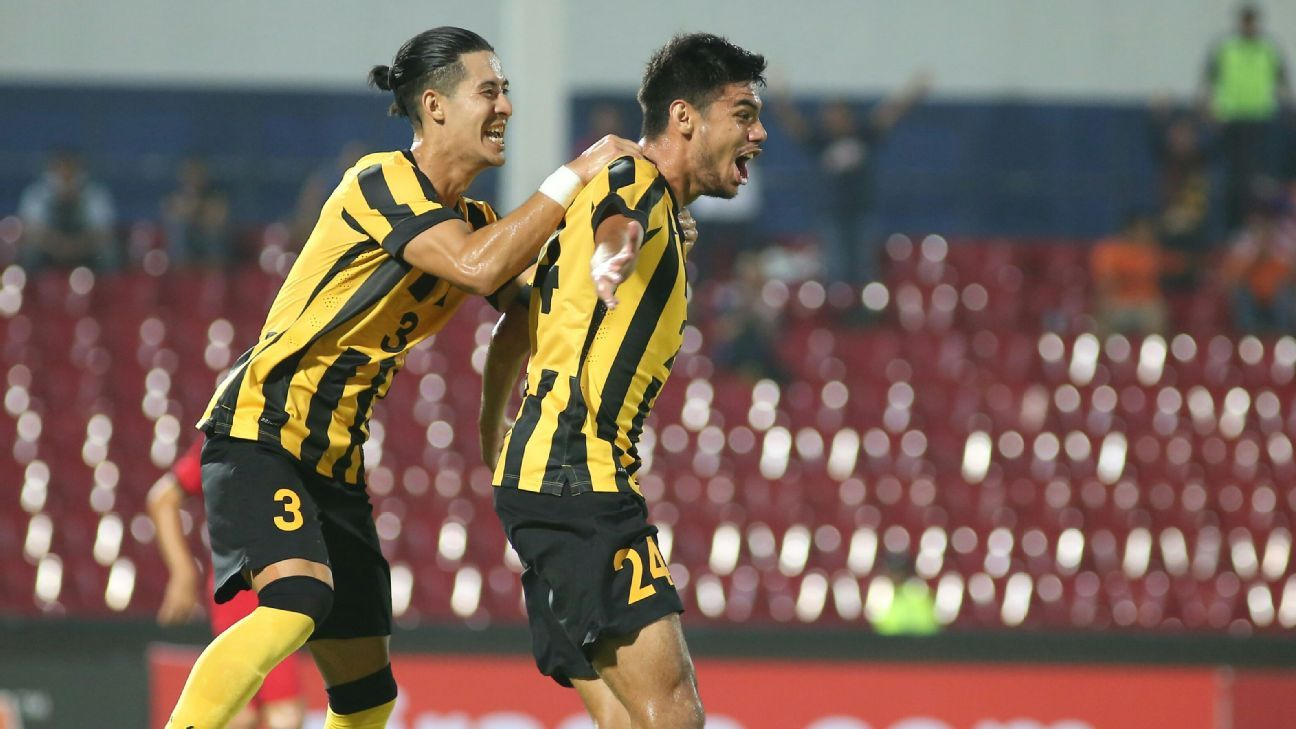 Khair Jefri Jones, right, put Malaysia ahead on the night at Larkin Stadium with a 16th minute goal.