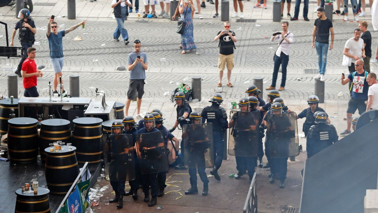 French Riot police England supporters