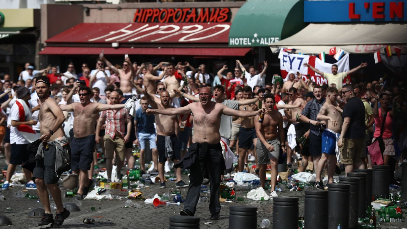 England and Russia fans clashed in Marseille during Euro 2016.