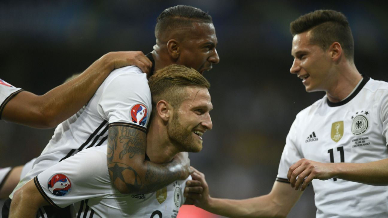 Germany vs Ukraine celeb Mustafi and Boateng