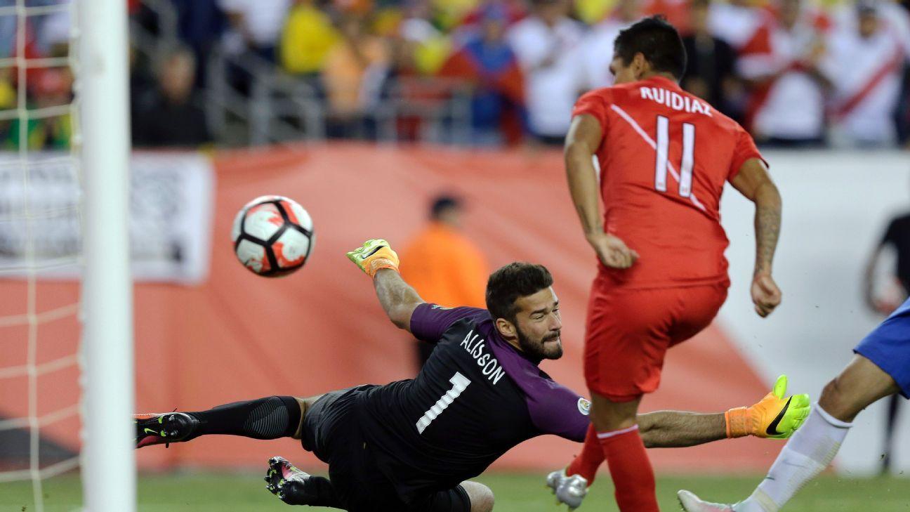 Peru's Raul Ruidiaz scores a controversial winner past Brazil' goalkeeper Alisson in the second half.